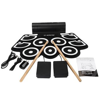Portable Electric Drum Set 9 Silicon Pads USB Electronic Drum Kit with DrumSticks Foot Pedal Audio Cable Percussion Instrument tama hp910ln speed cobra drum pedal w case