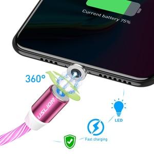 Image 3 - USLION المغناطيسي LED ضوء كابل شحن سريع المغناطيس مايكرو USB نوع C كابل LED سلك الحبل نوع C شاحن آيفون سامسونج S10