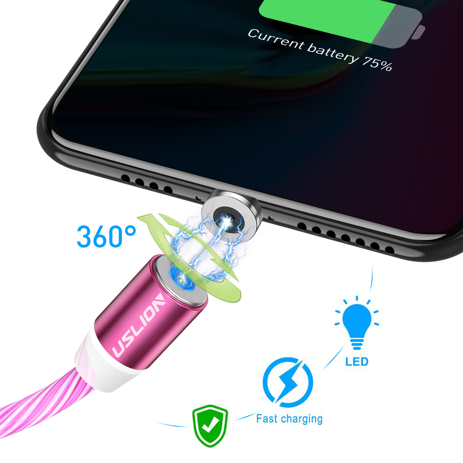 Image 3 - USLION Magnetic LED Light Cable Fast Charging Magnet Micro USB Type C Cable LED Wire Cord Type C Charger For Iphone  Samsung S10-in Mobile Phone Cables from Cellphones & Telecommunications
