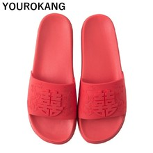 Summer Women Wedding Slippers Personalize Bride Bridegroom Flip Flops For Bridal-party Red Chinese Style Lovers Sandals Unisex