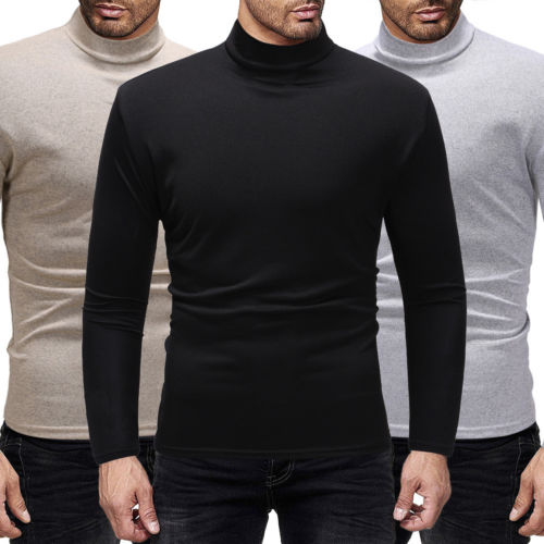 Autumn Winter Warm Turtleneck Sweater Men Fashion Solid Knitted Mens Sweaters 2018 Casual Male Double Collar Slim Fit Pullover