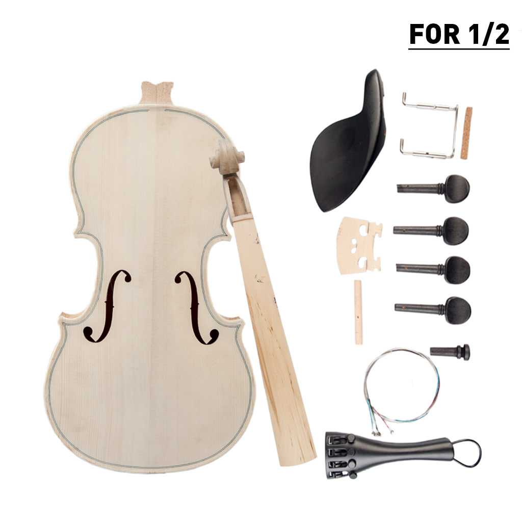 Audacious 1/2 Diy Violin Natural Solid Wood Acoustic Violin Fiddle Kit Spruce Top Maple Back Neck Fingerboard Aluminum Alloy New Convenience Goods Musical Instruments Violin Parts & Accessories