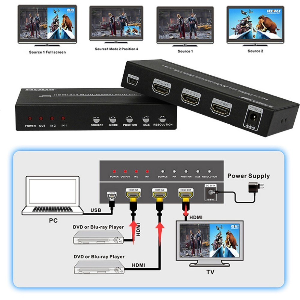 Koqit 2port HDMI Switch Dual Picture Screen Spliter Multi-viewer HDMI 2x1 Seamless Switcher Converter PIP POP 1080PKoqit 2port HDMI Switch Dual Picture Screen Spliter Multi-viewer HDMI 2x1 Seamless Switcher Converter PIP POP 1080P