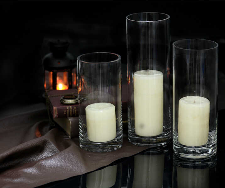 Transparent Glass Candle Holder Floorstanding Straight Bottle Wedding Candle Introduction Christmas Decorations for Home 3DZTY13