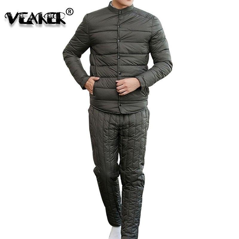 New Autumn Winter Mens Down Cotton Set Men Tracksuit Thicken Down Coat Pants Casual Sportwear Suit Jacket Male Sweatshirt Sets