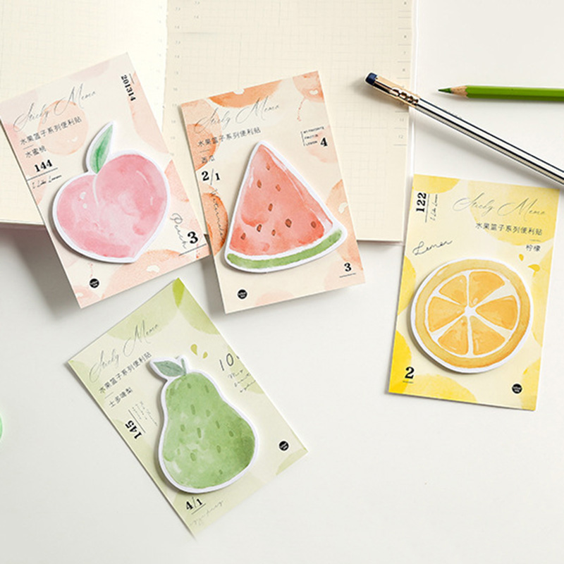 30Sheets Kawaii Memo Pads Creative Peach Watermelon Cute Fruit Sticky Notes For Kids Gifts School Office Supplies Stationery