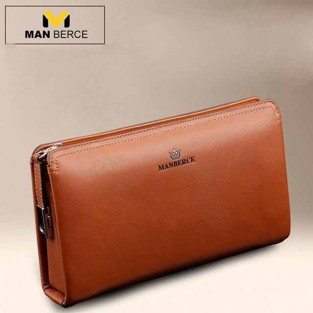 8e76657a28d8 US $71.0 |MANBERCE Men Wallets Brand Mens Wallet Leather Genuine Cowhide  Men's Clutch Bags Hot Business Casual Purses And Handbags Man Bag on ...
