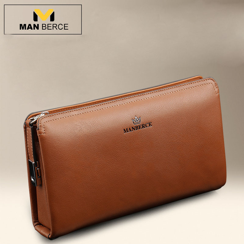 MANBERCE Men Wallets Brand Mens Wallet Leather Genuine Cowhide Men's Clutch Bags Hot Business Casual Purses And Handbags Man Bag