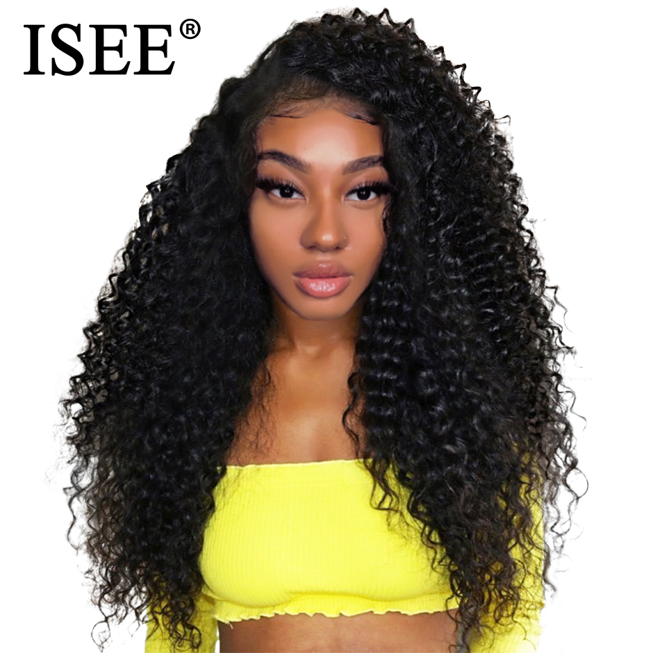Kinky Curly Human Hair Wigs 150 Density 13x4 Peruvian Human Hair Wigs Natural Color Remy ISEE