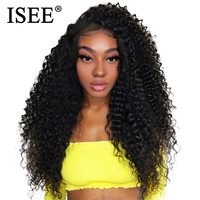 Peruvian Kinky Curly Wig Pre Plucked 150% Density Human Hair Wigs Natural Color Remy ISEE HAIR 13x4 Lace Front Human Hair Wigs