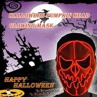 Halloween Green plastic Pumpkin Head Glow Mask EL Luminous Mask Scary Costume Party Decor Masquerade Evil Head Masks skull Mask