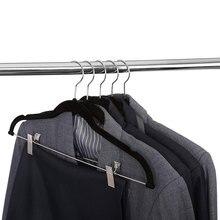 8pcs 벨벳 옷 걸이 드레스 재킷에 대 한 클립과 프리미엄 비 슬립 옷 옷걸이 코트 옷 바지