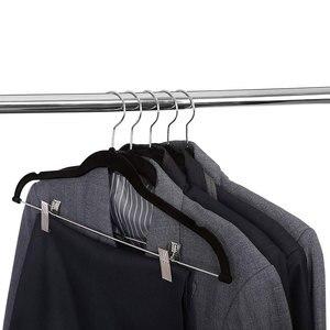 Image 1 - 8pcs קטיפה בגדי קולבי פרימיום החלקה בגדי קולבי עם קליפים עבור שמלת מעילי מעילי בגדי מכנסיים