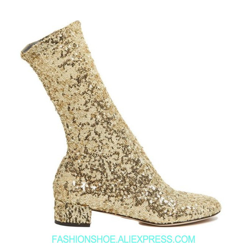 2019 Bling Golden Silver Sequin Sock Boots Chunky Heel Spring Summer Mid Calf Women Boots Runway Catwalk Valli Botas Feminina2019 Bling Golden Silver Sequin Sock Boots Chunky Heel Spring Summer Mid Calf Women Boots Runway Catwalk Valli Botas Feminina