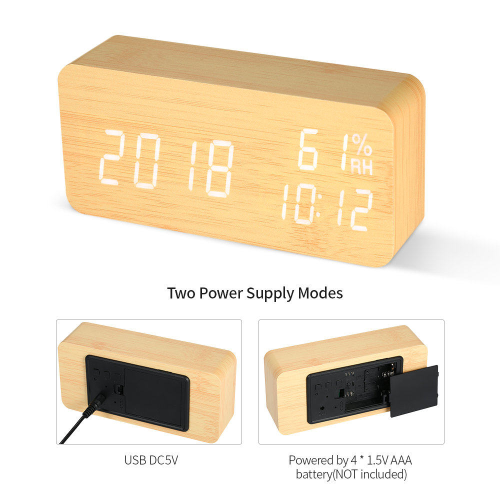 Image 5 - LED Digital Alarm Clock Wooden Sound Control Alarm Clock 