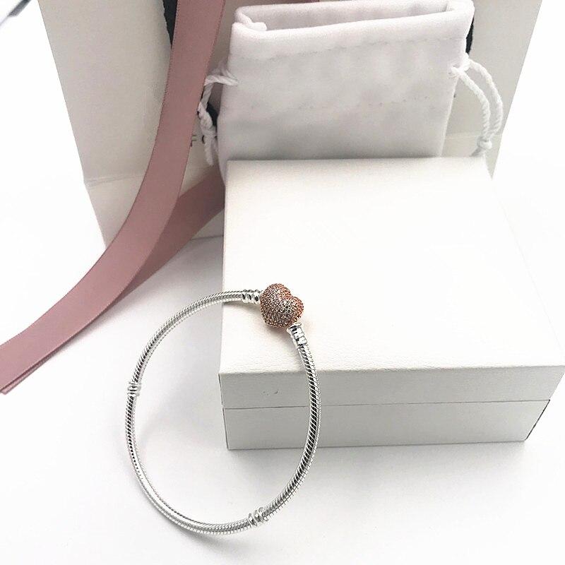 2019 NOUVEAU Charme Gravé chaîne en argent 925 Coeurs bracelet pandoras bracelet rose femme Fabrication de bijoux