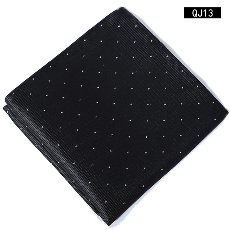 Polka Dots Polyester Pocket Square Hanky Jacquard Woven Classic Wedding Party Handkerchief 8 Color