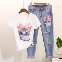 Comelsexy Summer Women Cartoon T Shirts Jeans Suits Fashion Sequins Cat Print Short Sleeve Tshirt + Denim Hole Tassel Pants Sets