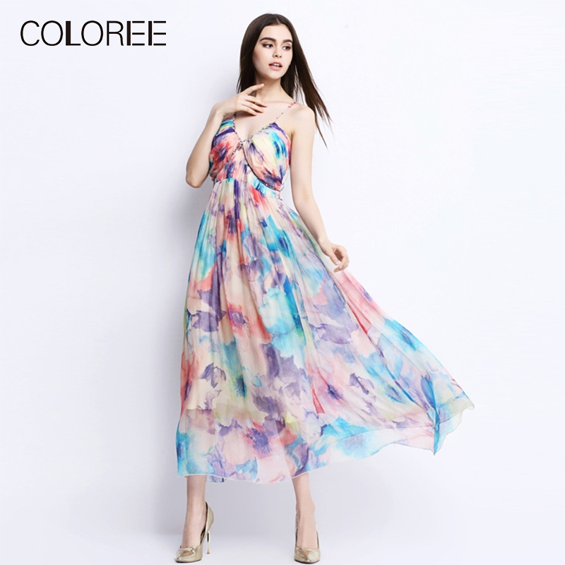 2019 Summer Women Sundress Elegant Print Strapless Luxury Diamonds
