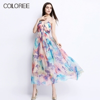 2019 Summer Women Sundress Elegant Print Strapless Luxury Diamonds Natural Silk Dress Female Long Maxi Beach Dress Vestidos