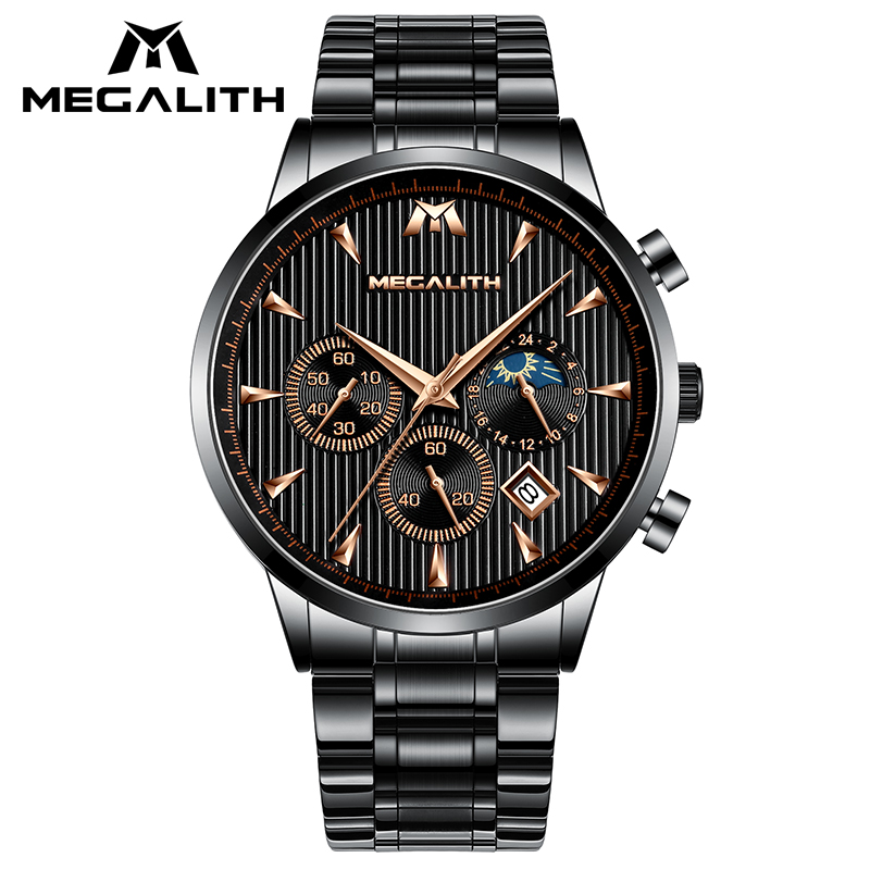 MAGELITH Luxury Casual Mens Watches Black Steel Quartz Male Clock Waterproof Chronograph Sport Business Wrist Watch For MenMAGELITH Luxury Casual Mens Watches Black Steel Quartz Male Clock Waterproof Chronograph Sport Business Wrist Watch For Men