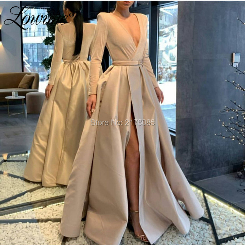 Elegant Ivory Long Sleeves   Evening     Dress   Dubai Arabic Formal Prom   Dresses   Robe De Soiree Cheap Party Gowns Abendkleider 2019