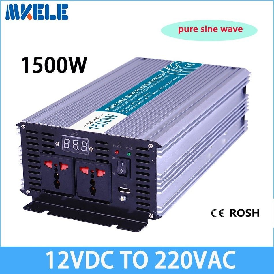Inverter Max 2500 Watt 1500W 12 V to AC 220 110 Volt LCD Digital 1 USB Pure Sine Wave Converter Car Charge Converter Transformer-in Car Inverters from Automobiles & Motorcycles
