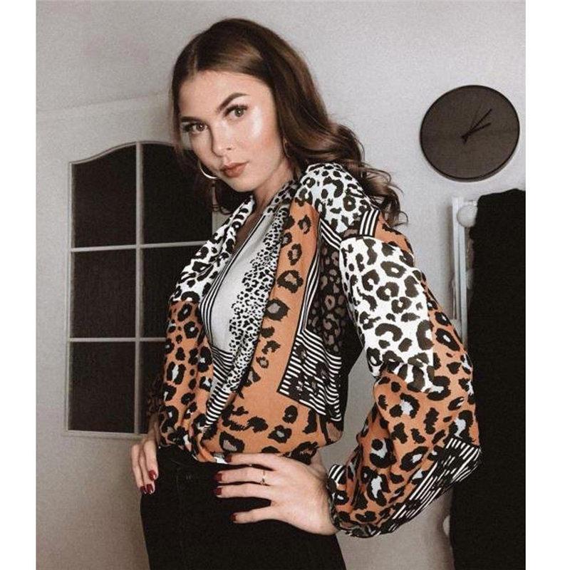 Hirigin 2019 Sexy Leopard Print V Neck Wrap Women Shirts Casual Long Sleeve Female Ladies Comfort Blouse Gifts Dropship