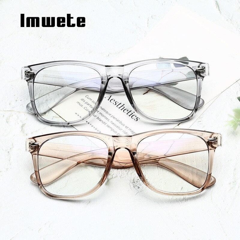 Imwete Vintage Anti Blue Light Glasses Frame Men Women Clear Lens Eyeglasses Frames Female Candy Color Optical Spectacle Frame