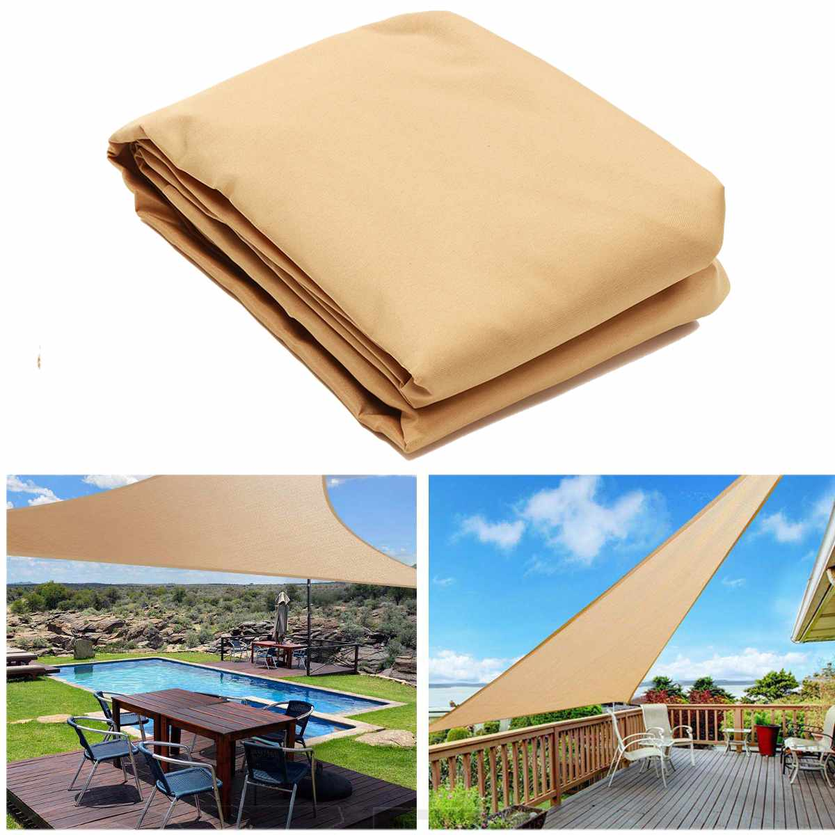 90% UV Protection 300D Waterproof Oxford Cloth Outdoor Sun Shade Sail Canopy Sunscreen Sails Net Canopies Yard Garden Encrypted|Shade Sails & Nets| |  - title=