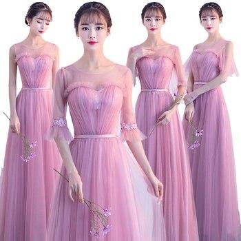 Pink Bridesmaid Long Dress Sweetheart Tulle Pleated Prom Dresses JBridesmaid Gown elegant Net yarn
