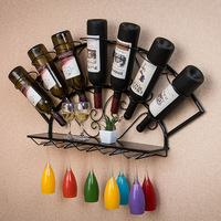 Wall Mounted Wine Rack Organizer Hanging Bottle Glass Holder Storage Shelf for Red, White, Champagne