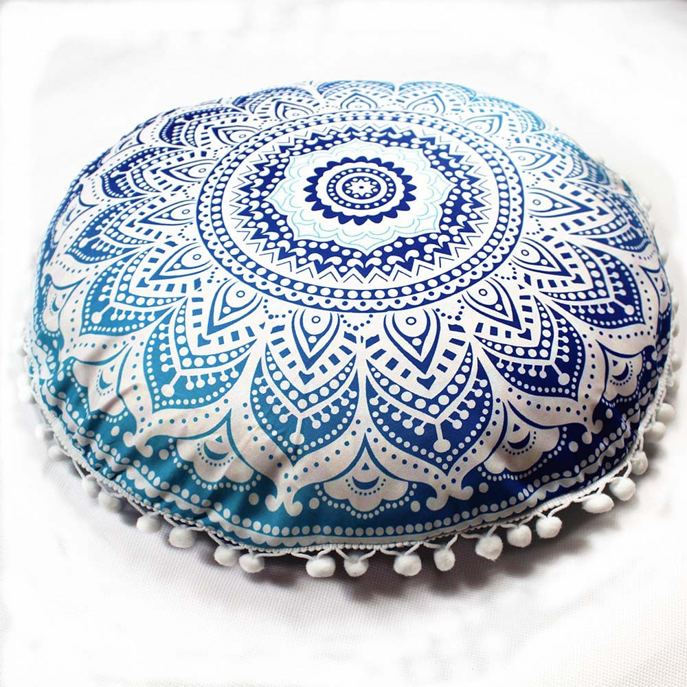 Home Textile 32in Round Mandala Tapestry Pillows Case Cover Meditation Covers Ottoman Poufs Retro Ethic Pillow Case26 Selected Material Bedding