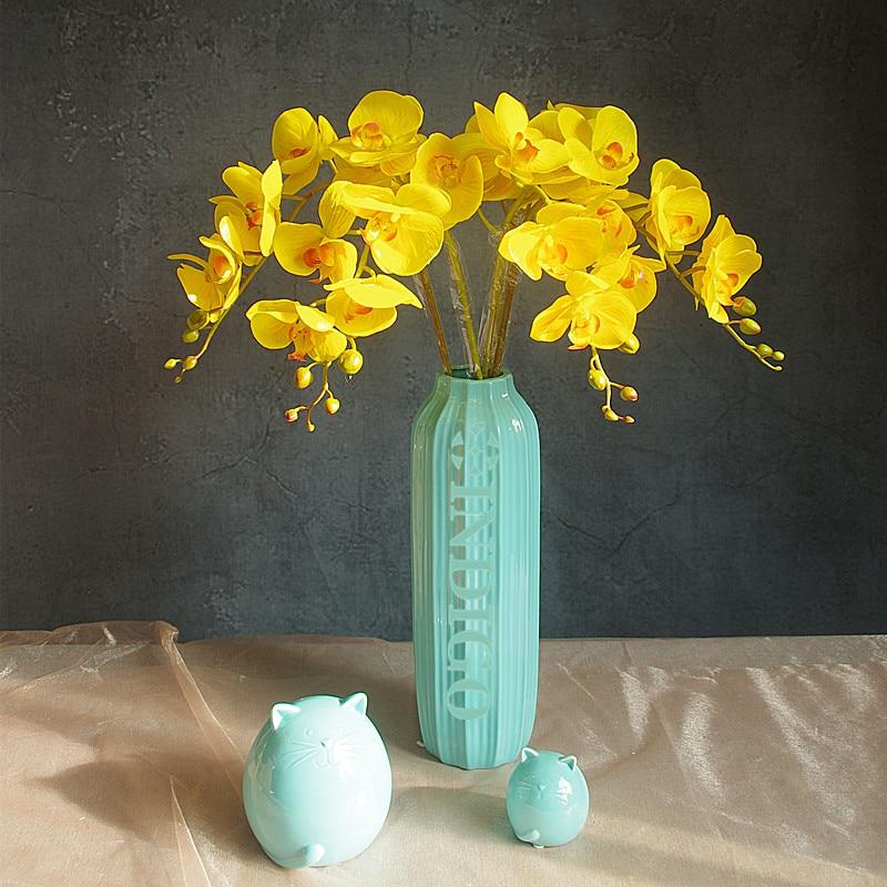 Phalaenopsis Orchid Silk Real Touch Blomma Vit Konstgjord Blomma - Semester och fester - Foto 5
