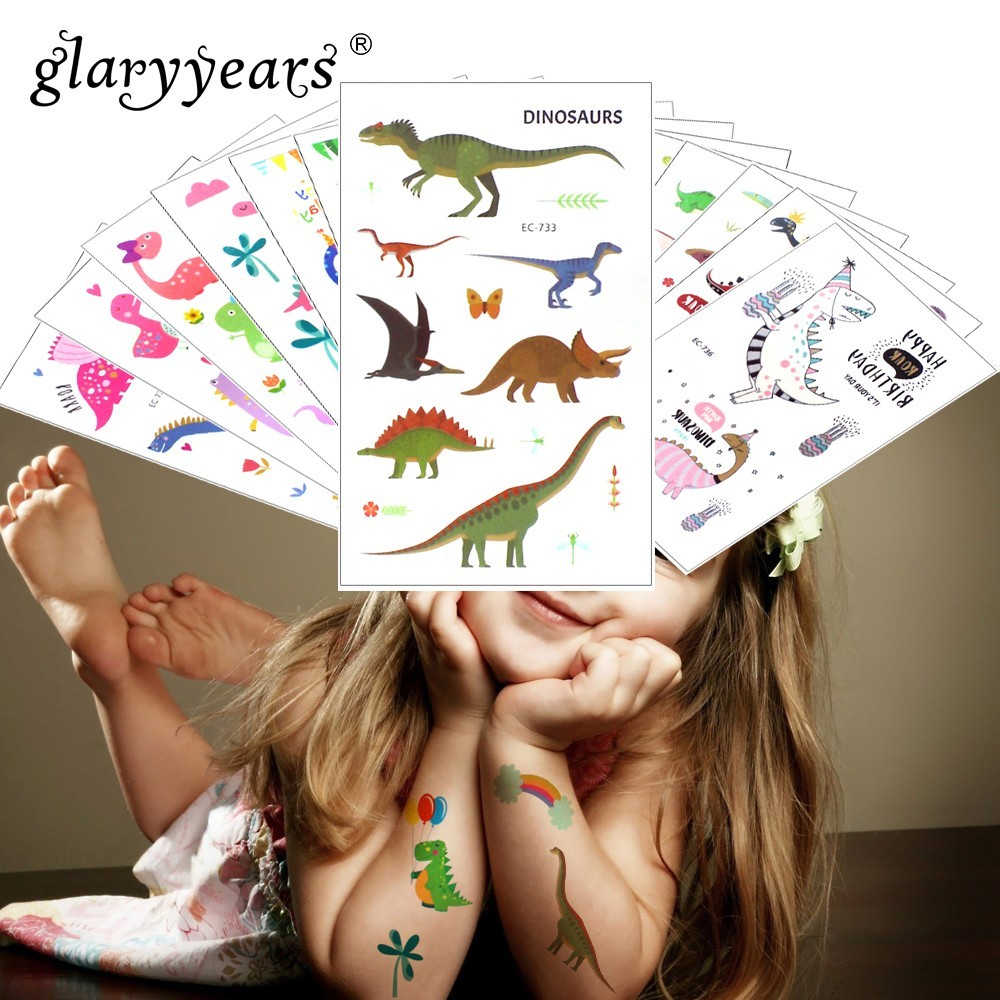Glaryyears 1 Sheet Temporary Tattoo Sticker Colorful Fake Tatoo Dinosaur Flash Tatto Waterproof Small Body Art Child 16 Designs