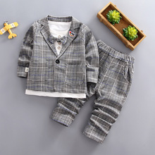 цена на Spring Autumn Baby Boys Girls Fashion Gentleman Bow Jacket T-shirt Pants Plaid 3 Pcs/Set Children Cotton Clothing Sets Kids Suit