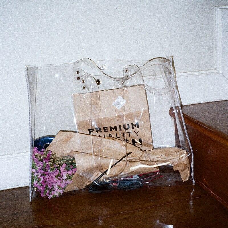 TFTP-Casual Totes Women Pvc Handbags Transparent Beach Bags Summer Shopping Bags Ladies Shoulder Bag Open Handbag