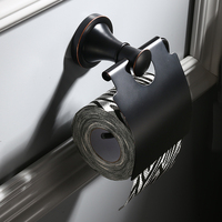 Toilet Paper Holder Brass Made Matte Black Bathroom Toilet Roll Holder Towel Square Bathroom Accessories