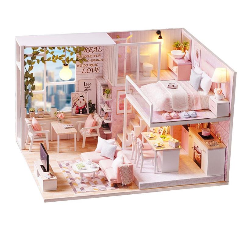 Sweet Cute Room Miniature DIY Dollhouse With Furnitures Wooden House Toys For Kids Children Birthday Love Gifts Brain Training