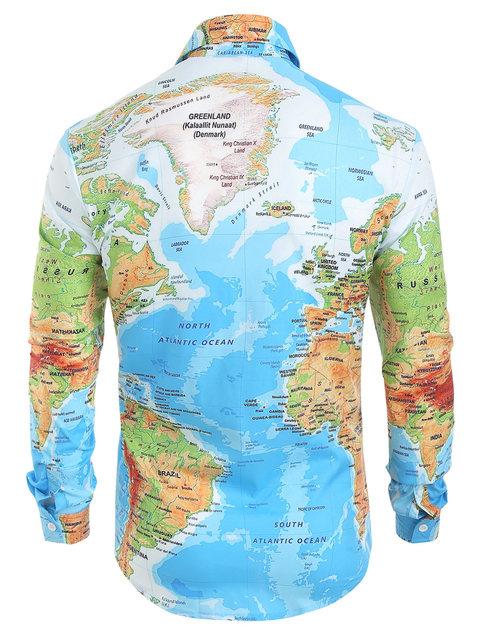 Hemiks Men World Map Print Hidden Button Shirt Spring Long Sleeve Lapel Casual Shirts Men'S Tops