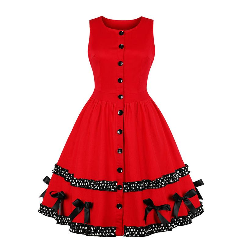 Retro Wave Point Splicing Dress for Christmas Attracting Big Size Dress with Bow
