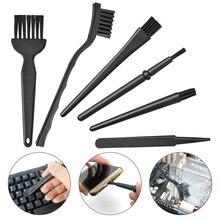 Gran oferta, 6 en 1, pequeño mango portátil de plástico, cepillo Antiestático de nailon, Kit de cepillo de teclado de limpieza, negro (bolsa con cremallera)