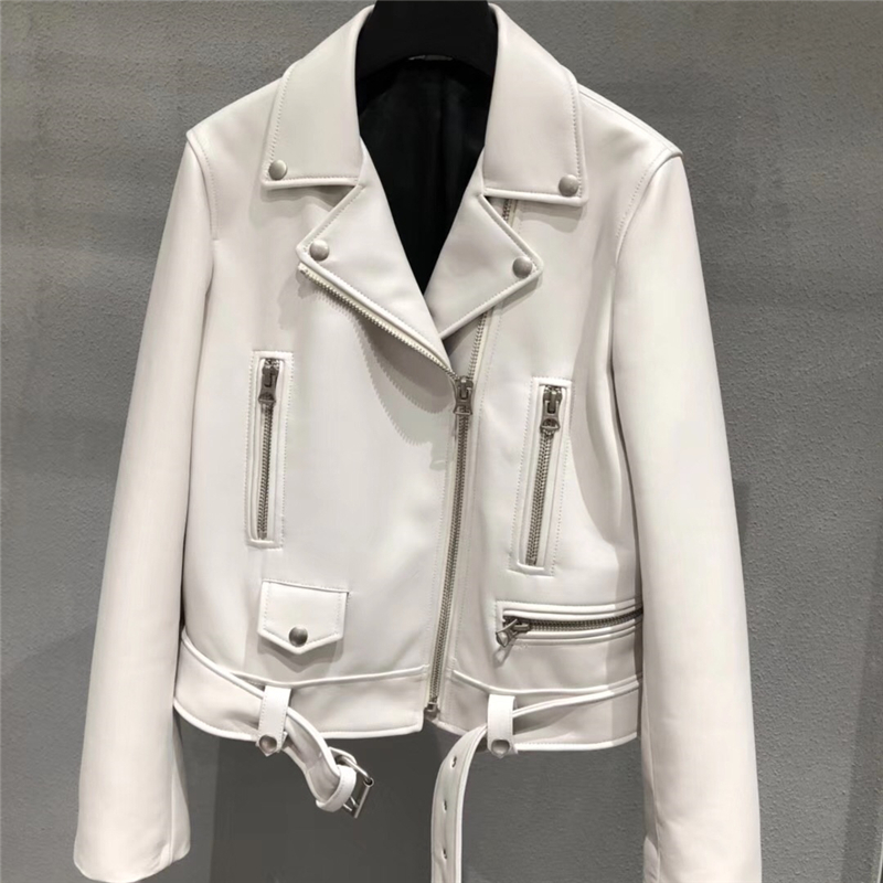 Image 3 - Genuine Leather Jacket Women Ladies Classic Real Lamb Shkin Overcoat Autumn Real Sheepskin Leather Jackets Female with BeltLeather Jackets   -
