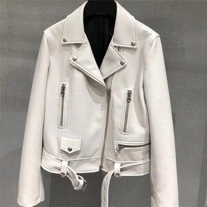 Image 3 - Jaqueta de couro genuíno feminino senhoras clássico real cordeiro shkin casaco outono real pele carneiro jaquetas de couro feminino com cinto