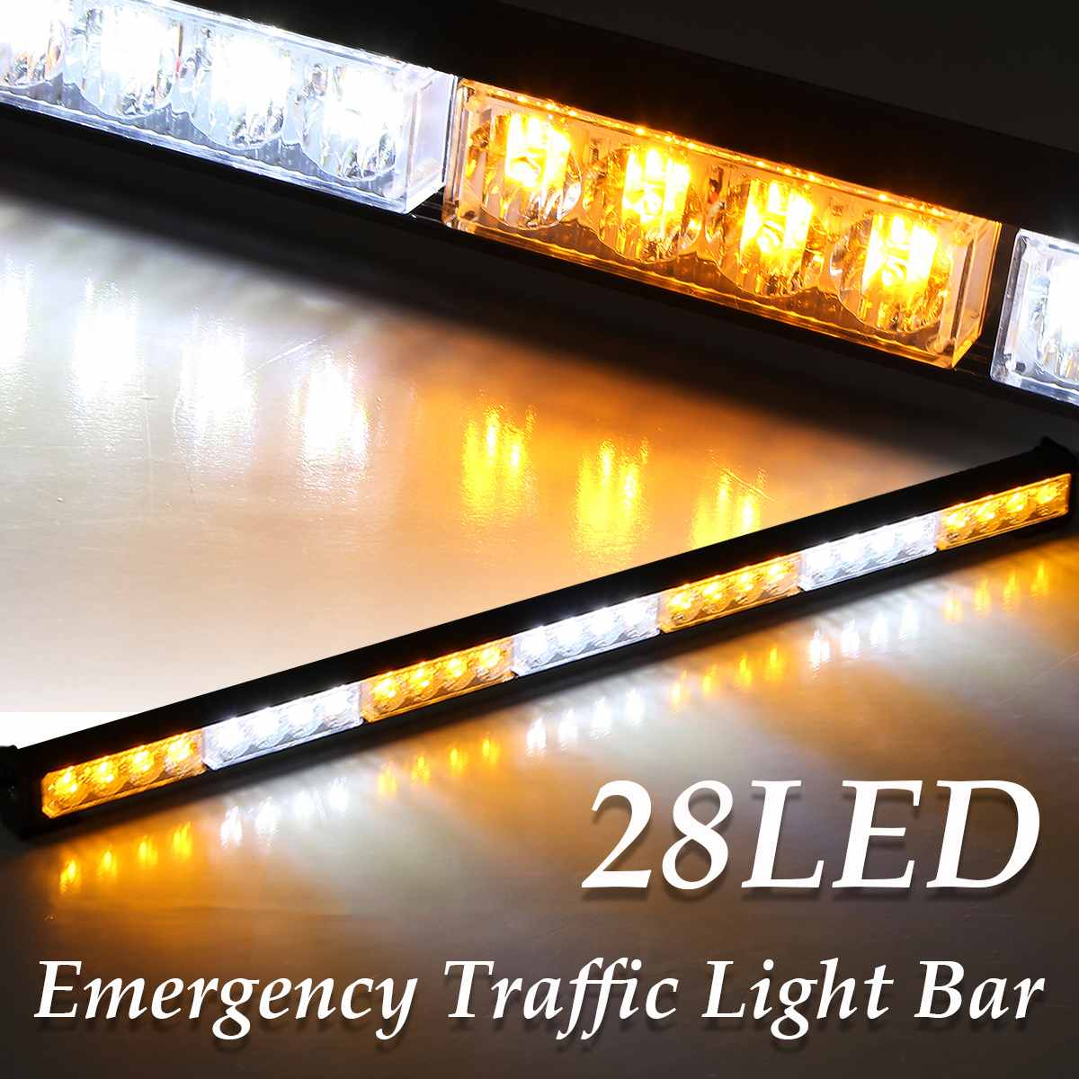 31inch 28 LED Emergency Light Bar for Car Vehicle Amber White Color 12V with Switch Professional Car Flash Emergency Light31inch 28 LED Emergency Light Bar for Car Vehicle Amber White Color 12V with Switch Professional Car Flash Emergency Light