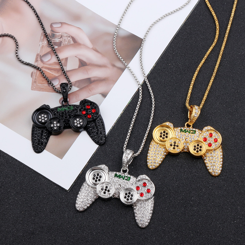 Wellcomics Zelda Game Handheld Game Console Handle Symbol Metal Handmade Pendant Necklace Chain Ornament Cosplay Collection Gift