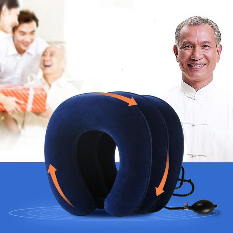 U Neck Pillow Air Inflatable Pillow Cervical Neck Shoulder Tractor Pain Relax Support Massager Cushion Traction Soft(China)