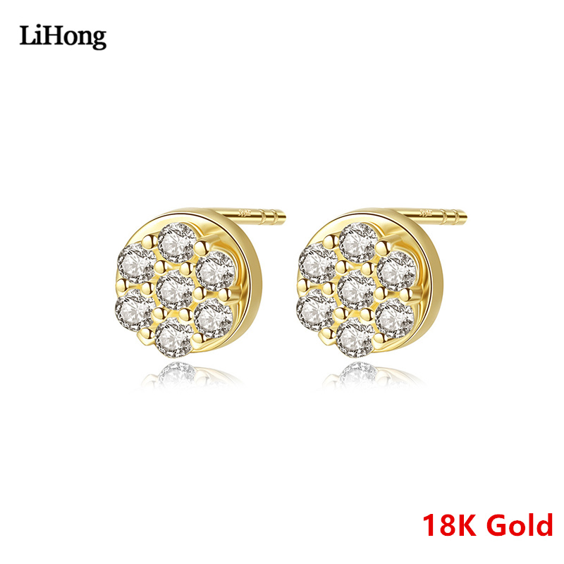 2019 New Solid 18K Gold Earrings Simple Round AAAAA Zircon Crystal Earrings Real Gold Jewelry High Jewelry Gift For women2019 New Solid 18K Gold Earrings Simple Round AAAAA Zircon Crystal Earrings Real Gold Jewelry High Jewelry Gift For women