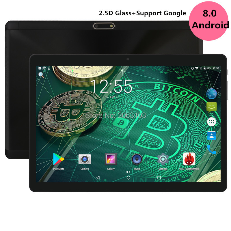 2019 New Android 8.0 OS 10 Inch Tablet Pc Octa Core 4GB RAM 64GB ROM 8 Cores 1280*800 IPS 2.5D Glass Screen Tablets 10.1 Gifts