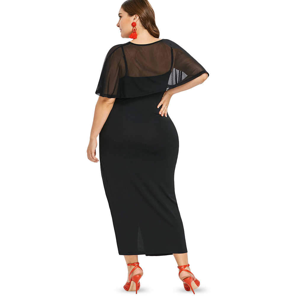 0921e1c549fca Wipalo Plus Size Women Round Neck Short Sleeve Maxi Dress See Through Panel  Solid Asymmetric Party Dress Twinset Tunic Vestidos